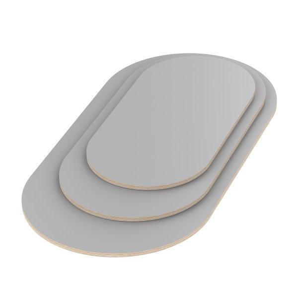 Multiplexplatte Holzplatte Tischplatte Oval melaminbeschichtet grau