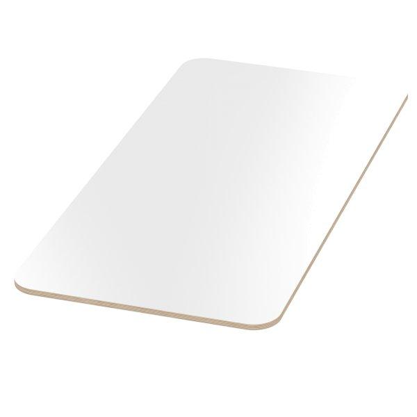 Multiplexplatte Holzplatte Tischplatte Birke melaminbeschichtet weiß Eckenradius 100mm