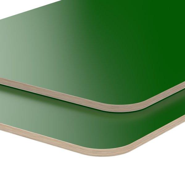 Multiplexplatte Holzplatte Tischplatte Birke melaminbeschichtet grün Eckenradius 100mm
