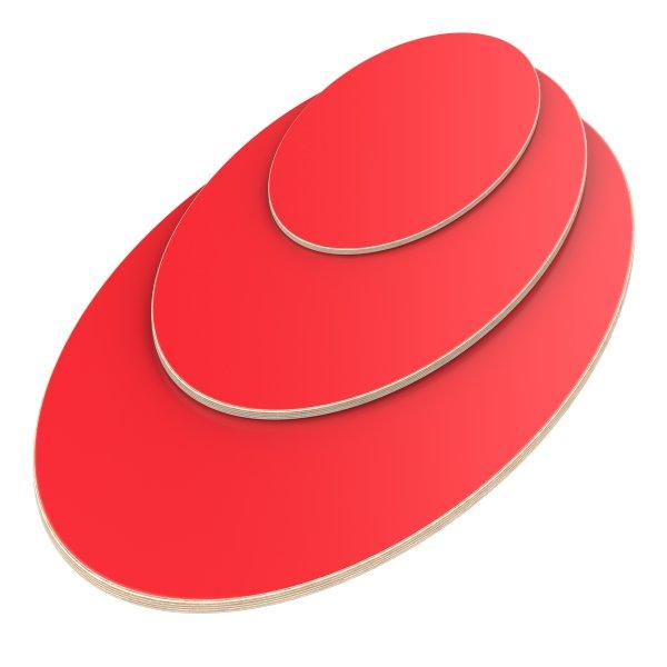 Multiplexplatte Holzplatte Tischplatte Ellipse melaminbeschichtet rot