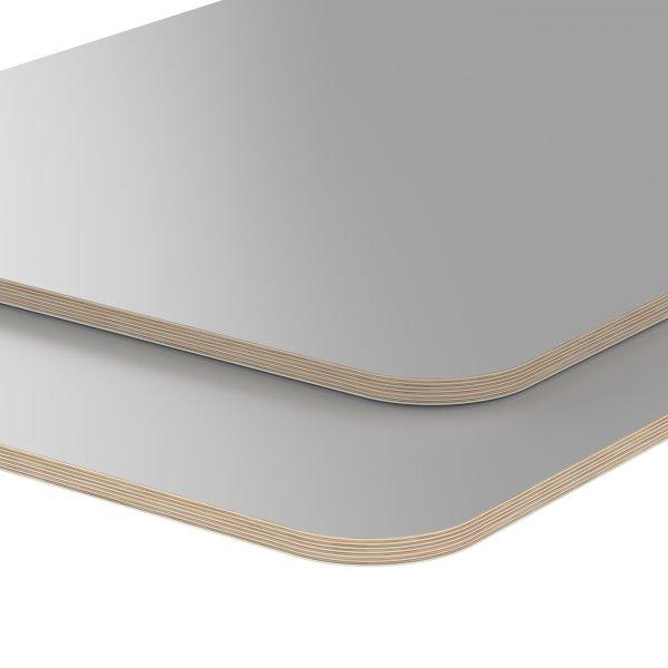 Multiplexplatte Holzplatte Tischplatte Birke melaminbeschichtet grau Eckenradius 100mm