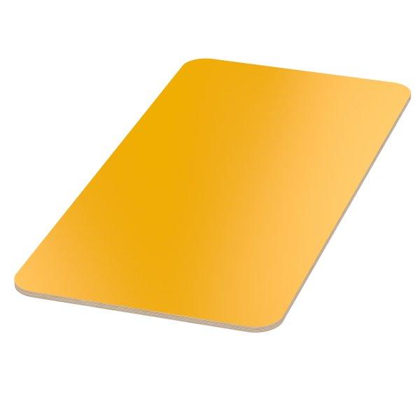 Multiplexplatte Holzplatte Tischplatte Birke melaminbeschichtet gelb Eckenradius 100mm