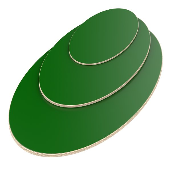 Multiplexplatte Holzplatte Tischplatte Ellipse melaminbeschichtet grün