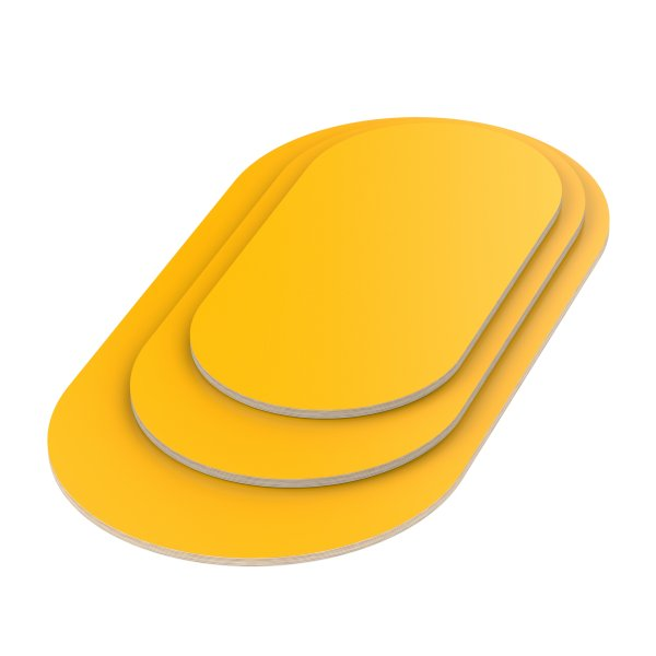 Multiplexplatte Holzplatte Tischplatte Oval melaminbeschichtet gelb