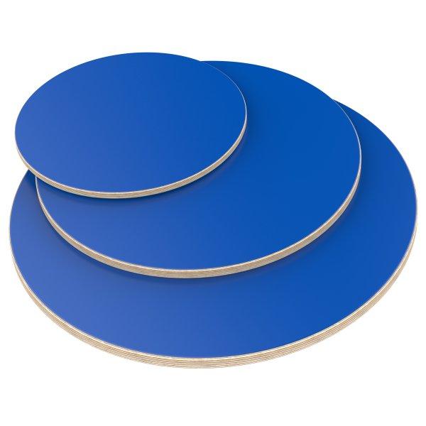 Multiplexplatte Holzplatte Tischplatte Rund melaminbeschichtet blau